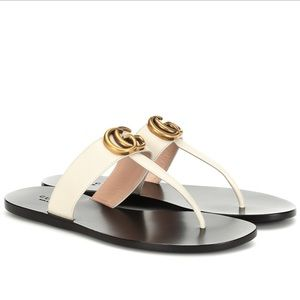 Gucci Marmont leather thong sandals size 38